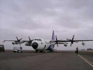 NSF/NCAR C-130 (aka Hercules) outfitted with instruments to measure the atmosphere (C. Terai)