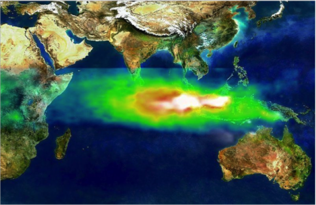 The pollution of the 1997 indonesian fires as seen by nasa's toms detector. White shows smoke while red (high) and green (low) show the amount of smog over the indian ocean.