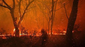 Flying embers during an australian fires lead to extremely fast spread.