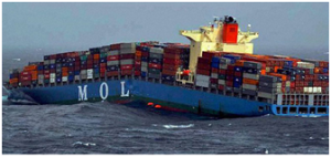 The container ship MOL Comfort, slightly bent.  See what happened next on vesselfinder.com