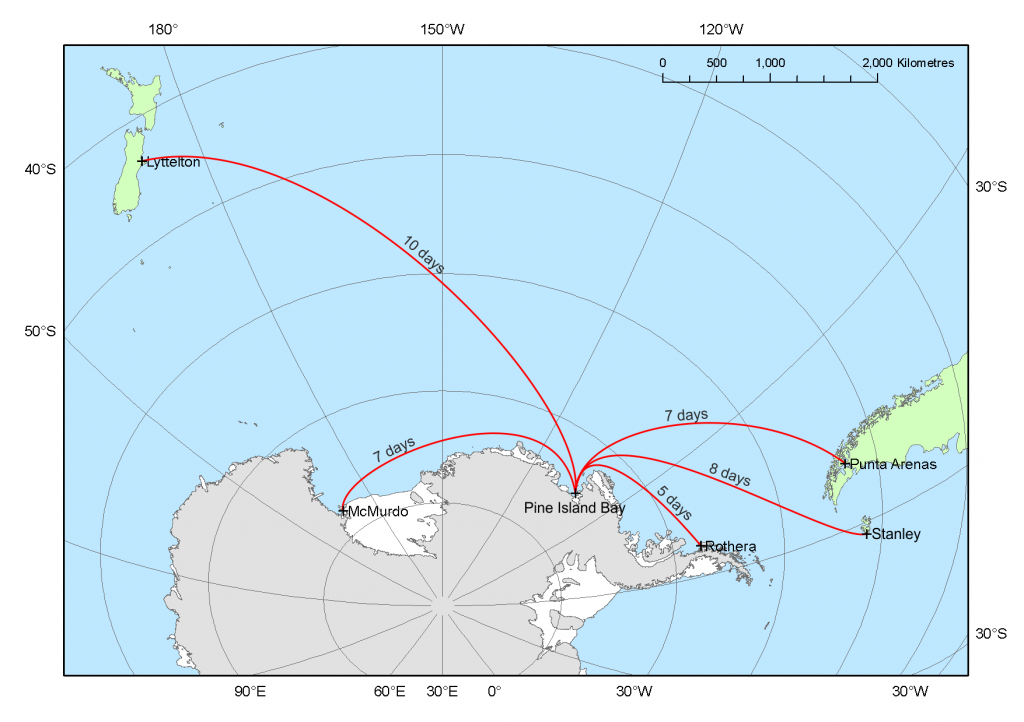 A map showing the location of the Amundsen Sea within Antarctica and the ship transit time to other destinations. (Source: http://www.istar.ac.uk/press-media/maps/)