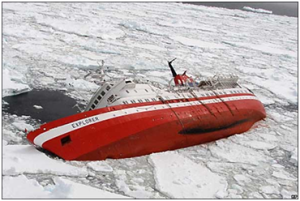 Even nowadays, when a ship hits an iceberg, the iceberg wins – sinking of the MV Explorer, no casualties (picture from jamescairdsociety.com)