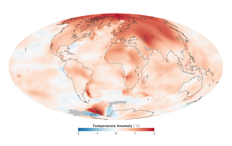 Fig. 1: Global temperature anomalies for 2000 to 2009. The Figure shows how much warmer or colder a region is compared to the norm for that region from 1951 to 1980. Note, that anomalies are largest in the Arctic. Credit: NASA image by Robert Simmon, based on GISS surface temperature analysis data including ship and buoy data from the Hadley Centre.