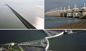 Figure Top left Afsluitdijk (completed 1933, source), top right Oosterscheldekering (1986, source), bottom Maeslantkering (1997, source).