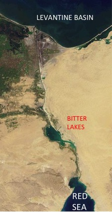 The Suez Canal seen from the satellite. [Modified from: http://en.wikipedia.org/wiki/Suez_Canal]