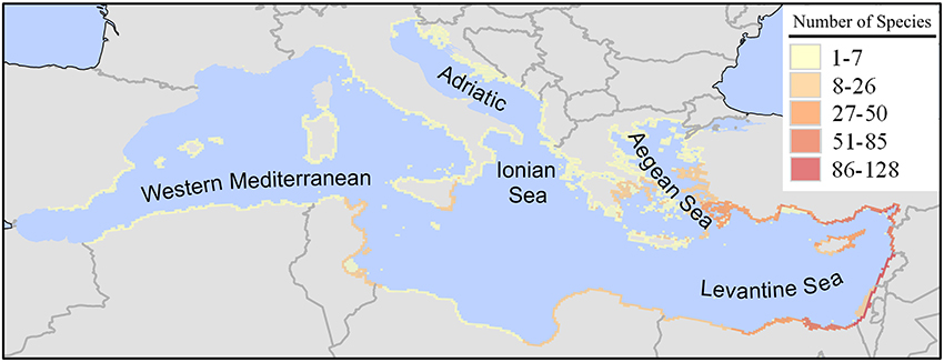 Number of Lessepsian species in the different basins within the Mediterranean Sea [Source: Katsanevakis et al., 2014]