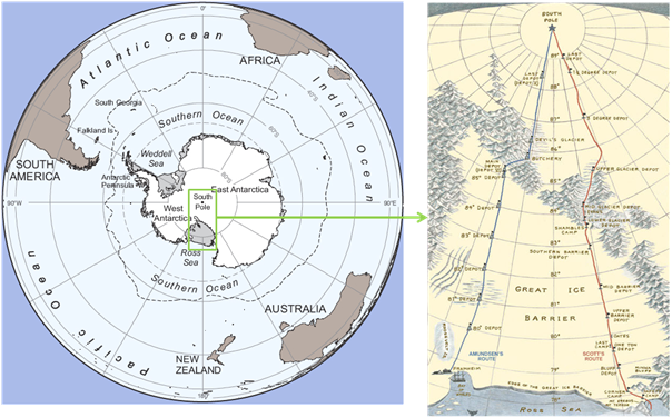 Left, Antarctica in relation to the rest of the world (image National Geographic). Green box and right show the Ross ice shelf region and beyond, where the race to the South Pole happened: blue Amundsen's route, red Scott's (image artofmanliness.com).