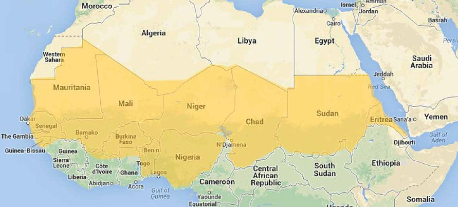 Fig. 2: African countries of the Sahelo-Sudanian band, shown in yellow (from www.iaea.org)