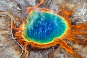 Figure 1: Grand Prismatic Hot Spring, Yellowstone National Park. Microorganisms inhabit this extreme environment and produce the bright colours. (Wikipedia)