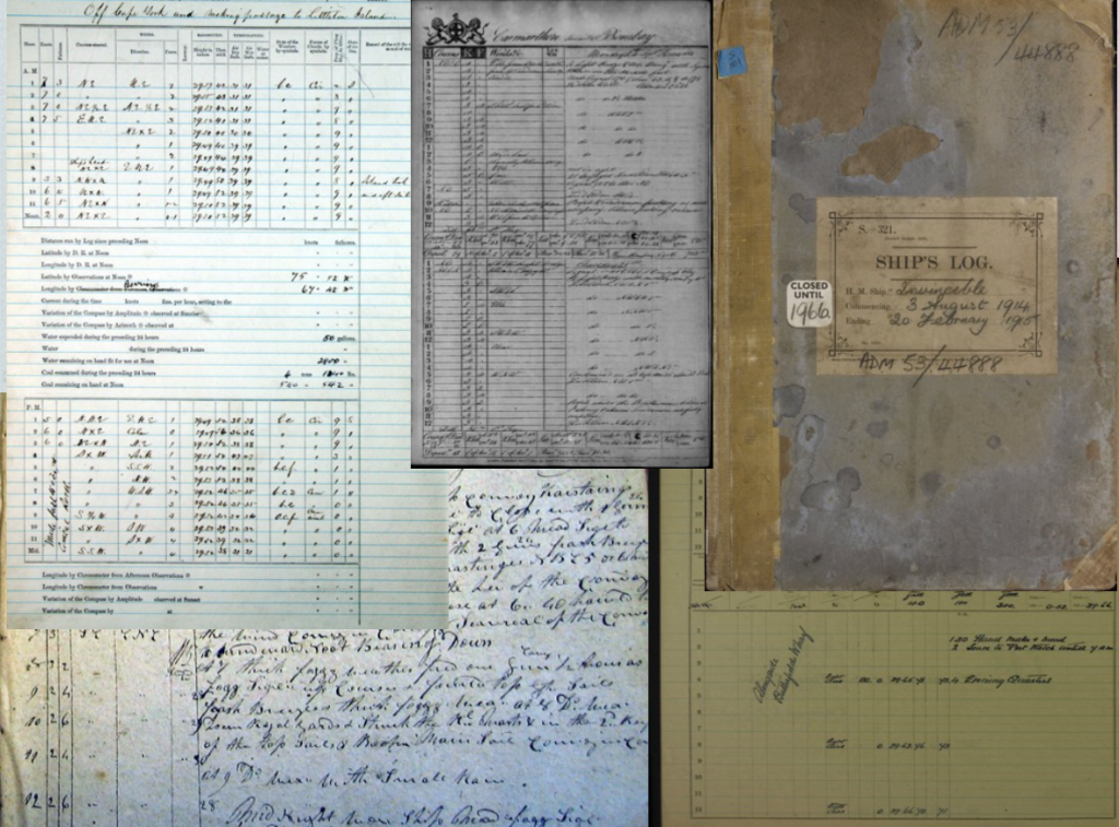 Examples of ship log books (Source: OldWeather)