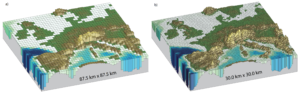Figure 1: The square sizes vary and the terrain is differently represented in the models. The smaller the squares the more details the terrain has. Source: IPPC.